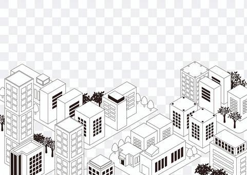 Monochrome city of lines