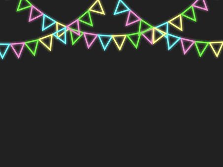 霓虹燈三角旗花環框C