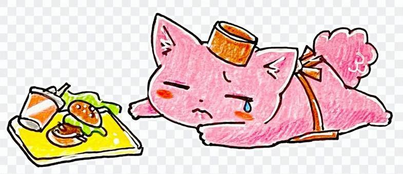 職員貓掉一個漢堡包