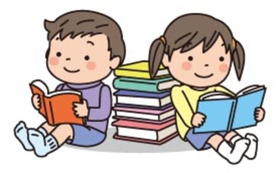 一本读有孩子和书籍的书