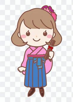 Hakama畢業典禮女孩·粉紅色