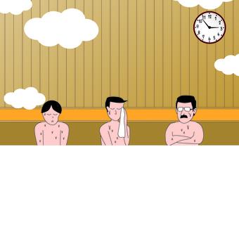 Sauna hot spring public bath facility male upper body
