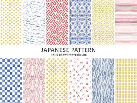 手繪水彩日本模式集