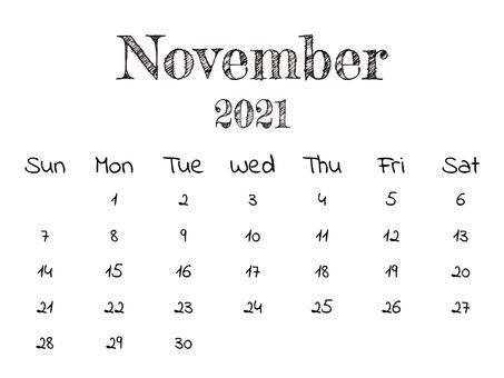 2021 年 11 月單色日曆