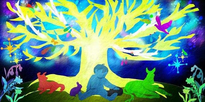 男孩,動物和Taiki的剪紙插圖
