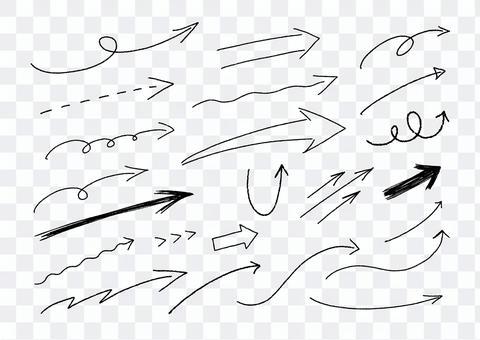 黑白手寫右上箭頭集