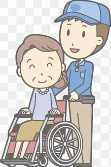 送貨員男性 - 輪椅推 - 全身