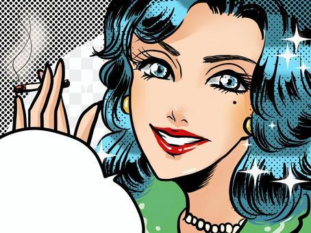 アメコミタバコを蒸す青い髪の熟女