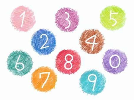 色鉛筆手描きアイコン・数字背景セット