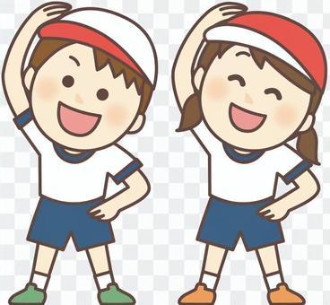 準備體操_健身服的兒童(紅白帽)
