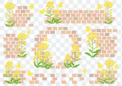菜の花とレンガのフレームセット