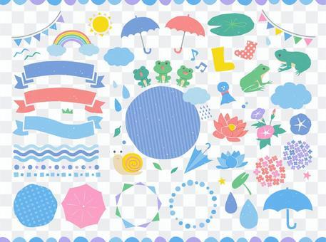雨季插圖和框架設計素材