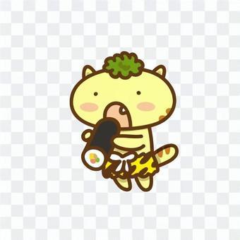 Cat who eats Ewakaki playing Oni's cosplay