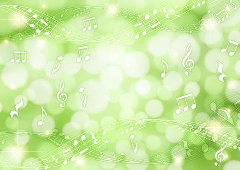 閃閃發光的燈光和音符背景綠色水平
