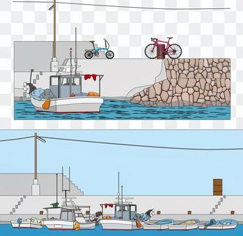 There are two kinds of fishing port scenery