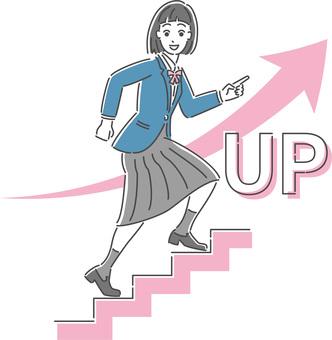 一個女學生加緊的插圖