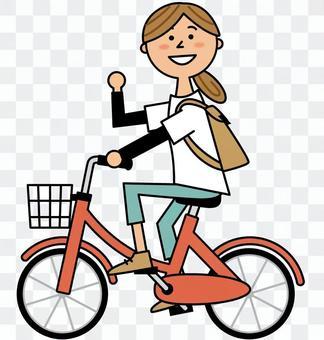 自転車に乗る女性_横向き