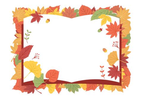 帶彩色葉子的書形框架