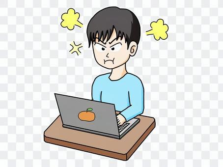 男性在計算機上工作⑨
