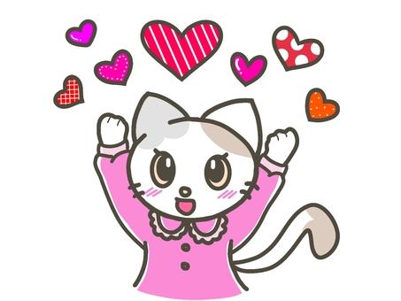 許多流行圖案的心和貓 02