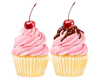可愛的櫻桃蛋糕