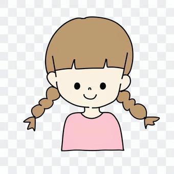 辮子的女孩(棕色的頭髮)