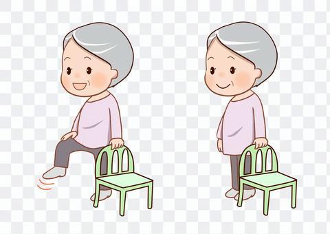 高齢者片脚立ちトレーニングカットイラスト