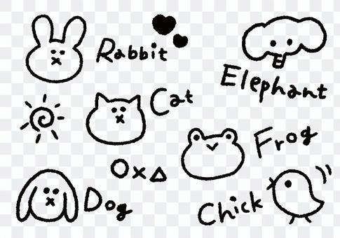 用蠟筆繪製的動物(單色)