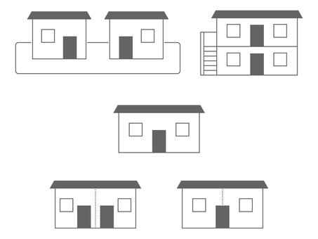 Various two-family house / cohabitation icon set