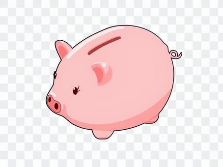 Pigs piggy bank (with border line / no shadow)