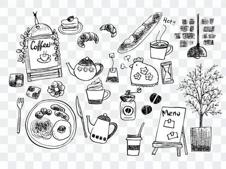 Handwritten cafe illustration (line drawing)