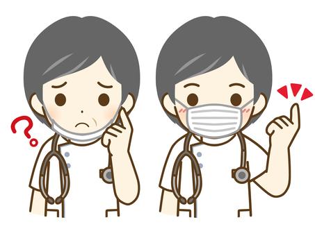 戴口罩的中年男護士