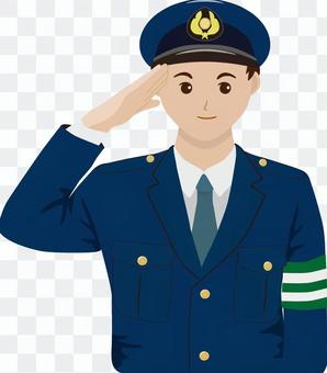 警察官 腕章付き 男性