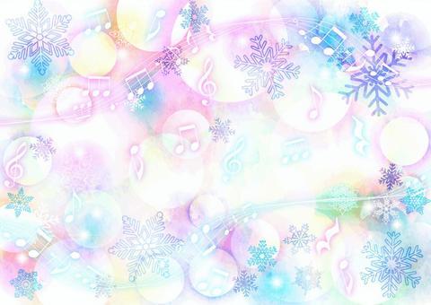 カラフルほわ雪の結晶と楽譜の背景ヨコ