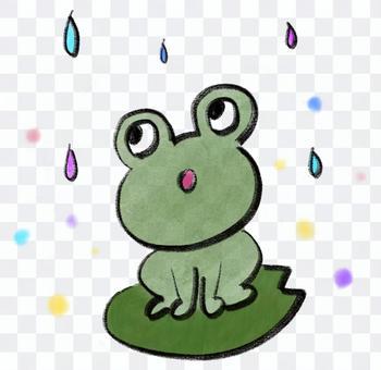 青蛙盯著雨