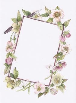 Christmas rose flower frame letter paper