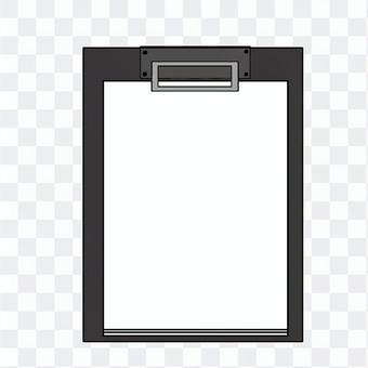 紙を挟んである黒のクリップファイル