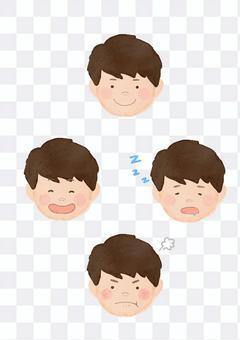 男孩面部表情4種模式