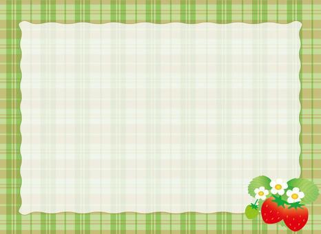 綠色檢查框架和草莓