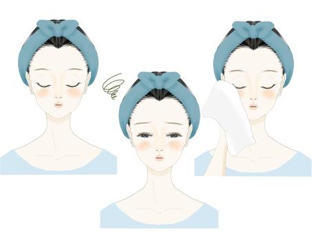Illustration set of women suffering from beauty