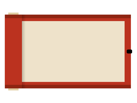 Flat Japanese-style roll frame: red