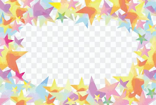 水彩風格多彩星空框架