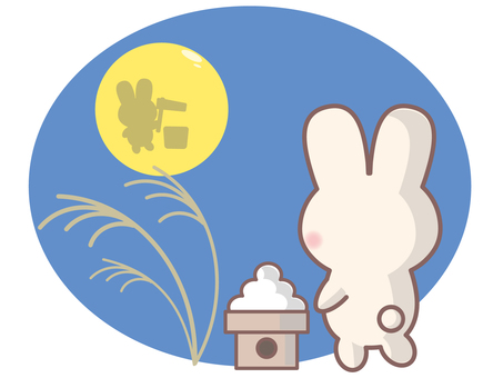 Rabbit watching the moon at the 15th night