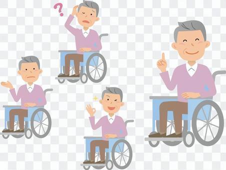 70917.輪椅上坐一個人一組