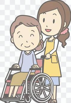 Housewife f-Wheelchair push-Whole body