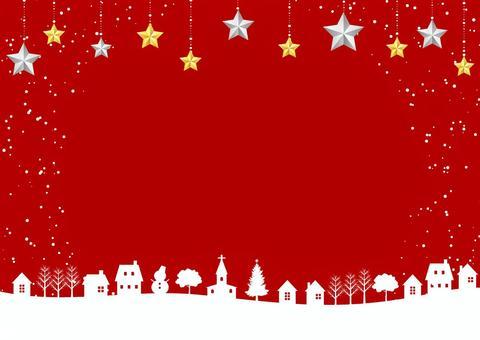 雪の街のクリスマス背景赤ヨコ