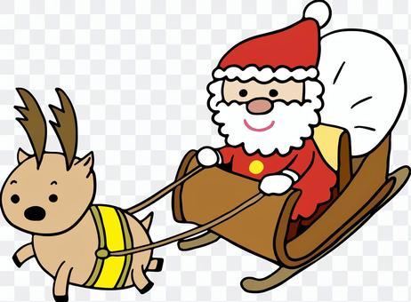 馴鹿和聖誕老人拉著雪橇