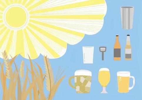啤酒杯、瓶子和玻璃杯