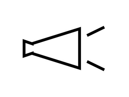 平面擴音器線畫圖標: 單色