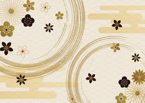 日本pattern_gold 樹葉畫筆圖案背景 2922